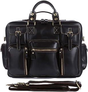 Men's Shoulder Bag Leather Men's Bag Vintage Crazy Horse Leather Tote Bag Men's Multi Pocket Tote Bag (Color : Black-a)
