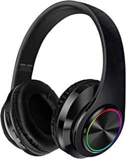 Noise Cancelling Headphones with Mic Bluetooth Wireless & Wired Headphones with Audio Cable & USB Cable for Travel Work(Bl...
