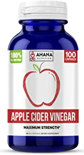 Ahana Nutrition Pure Apple Cider Vinegar Capsules - Support Detox and Weight Loss and Aid Immunity, Energy and Metabolism (100)