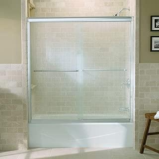 Kohler R702200-G54-SHP Fluence Frameless Bypass Shower Door with Falling Lines Glass, Bright Polished Silver