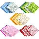 AUEAR, 35 Pack Cotton Print Fabric Bundle Squares 9.8'x9.8' Quilting Sewing Floral Precut Sheets for DIY Sewing Scrapbooking Quilting Dot Pattern (Bright Colors: Red & Blue & Yellow & Pink & Green)