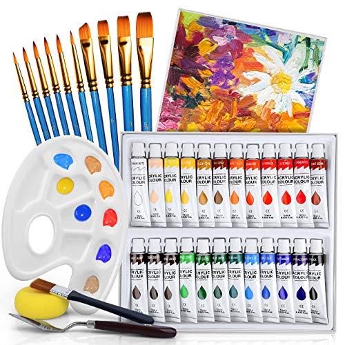 Flyqiuty Pinturas Acrílicas 24 colores (24 x 12 ml) para piedra/tela/vidrio/madera/pintura para manualidades, buena mezcla y pintura acrílica de pigmentos ricos para principiantes o profesionales