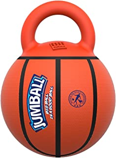 GiGwi JUMBALL Dog Tug and Dog Ball Toss Interactive Toy Dog Basketball Ball with Handle Large Dog Ball Toys Diameter 8 Inches Including Needle, Excercise Ball for Large Dogs But not Aggressive Chewers