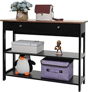 USIKEY 3-Tier Console Table with 2 Drawers, Sofa Table with Storage Shelfs, Hallway Table, TV Console Table, Open Bookshelf for Entryway, Living Room, Easy Assembly