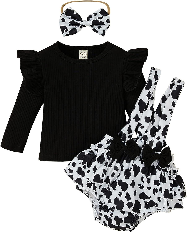 Baby Girl Short Set Ruffle Sleeve Ribbed T-Shirt Top+Floral Suspender Short+Headband Fall Winter Outfits