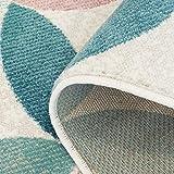 carpet city Teppich Flachflor Inspiration mit Geometrischen Muster, Marokkanischer-Stil mit Pastellfarben, Blau, Rosa, Creme, Beige für Wohnzimmer, Größe: 120x170 cm - 2