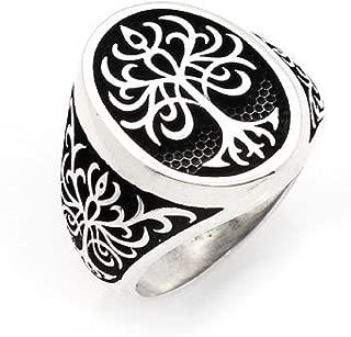 Turkish Ottoman Jewelry Life Tree Motif 925K Sterling Silver Men's Ring