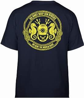 Men's Navy Blue T-Shirt Gildan 100% Cotton. US Navy Deep Sea Divers/We Dive The World Over. Gold Logo On Back.