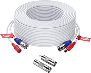 ZOSI 1 Pack 100ft (30 Meters) 2-in-1 Video Power Cable, BNC Extension Surveillance Camera Cables for Video Security Systems (Included 1X BNC Connectors and 1X RCA Adapters)-White Color