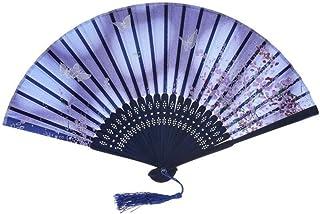 Ventilador Ventilador Plegable Ventilador de Mano Ventilador Plegable de Tela de Seda Impresa para Boda Regalo de Fiesta de Baile Fácil de Llevar
