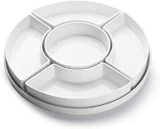 Sweese 707.101 Porcelain Divided Serving Dishes, Relish Tray, Serving Bowls for Parties - Perfect for Chips and Dip, Veggies, Candy and Snacks
