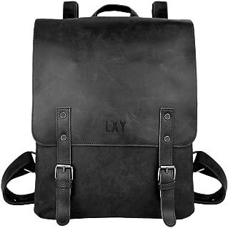 LXY Vegan Leather Backpack Vintage Laptop Bookbag for Women Men, Black Faux Leather Backpack Purse College School Bookbag Weekend Travel Daypack