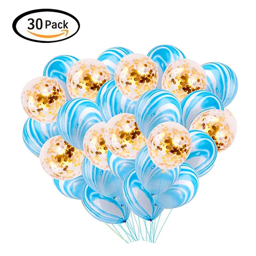 LACGO 12'' Marble Latex Balloons, Gold Confetti Balloons, Colorful Rainbow Marble Balloons for Parties, Baby Birthday Party, Weddings, Outdoor Activities (Blue/Gold)(Pack of 30)