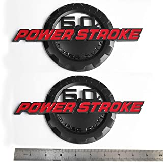 2pcs OEM Red 6.0L Power Stroke Super Duty Side Fender Emblems Badge Powerstroke 3D Logo Replacement for F250 F350
