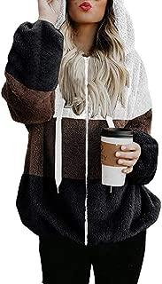 SOMESHINE Women Sherpa Pull Back Fuzzy Fleece Oversized Sweatshirt with Hood with Pockets