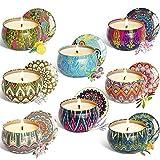 FzJs-J-in - Juego de velas aromáticas de cera de soja, lavanda, jazmín y vainilla, 8 piezas por juego