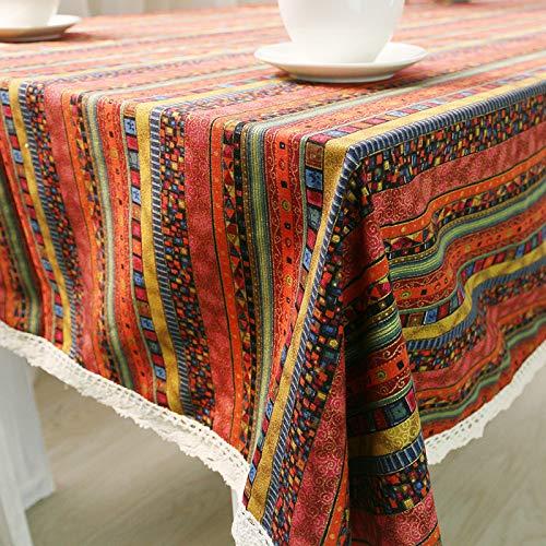 WEIFENG Mantel de algodón y Lino, Estilo étnico, Mantel Bohemio, Mantel de Lino, Toalla Cubierta de Mantel Rojo 100 * 140cm