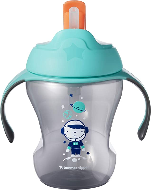Tommee Tippee Trainer Flippee Straw Cup Non Spill Valve Soft Straw BPA Free 8 Ounce 1 Count Colors May Vary