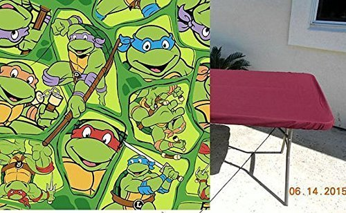 Ninja Turtle Fitted Stay Put Table Cover Tablecloth For Tables up to 6 feet. TMNT Teenage Mutant Ninja Turtle Print