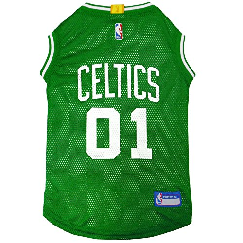 NBA BOSTON CELTICS DOG Jersey, Large - Tank Top Basketball Pet Jersey