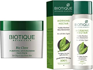 Biotique Bio Clove Purifying Anti Blemish Face Pack, 75g And Biotique Morning Nectar Flawless Skin Lotion for All Skin Typ...