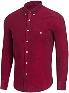 Osyard Men Casual Men's Button down Shirt Blouse Top Long Sleeve Plus Size Solid Hot Sale Original Shirt Turn-down Collar Shirts Multi Colours to Choose From M–XXXXXL -  Body Blouse red