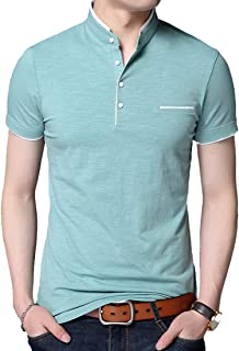 BITLIVE Men's Casual Slim Fit Short Sleeve Polo T-Shirts Cotton Shirts with Pocket