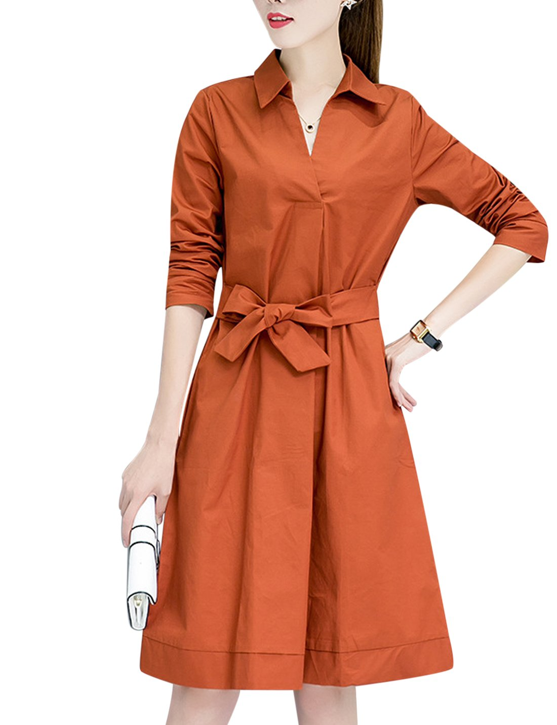 Available at Amazon: Tanming Women's Long Sleeve Belted A-Line Midi Shirt Dress