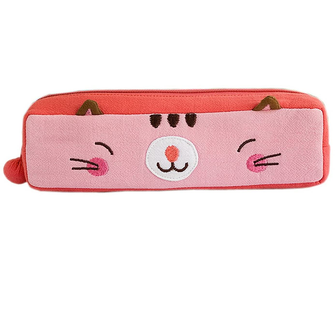 [Pinky Kitten] Embroidered Applique Pencil Pouch Bag / Cosmetic Bag / Carrying Case (7.31.81.9) ujo9891494