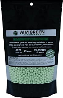 Aim Green: Glow in The Dark Biodegradable Airsoft BBS 6mm - 3,000 Airsoft BBS Pellets .20g and .25g Rounds - Spring, Gas, ...