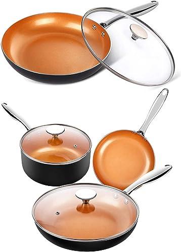 lowest MICHELANGELO 5 Piece Copper Pots and Pans Set + 12 Inch Frying Pan with Lid, Nonstick Copper Cookware Set with Ceramic outlet sale Titanium online sale Coating, Ceramic Cookware Set, OVEN Safe outlet online sale