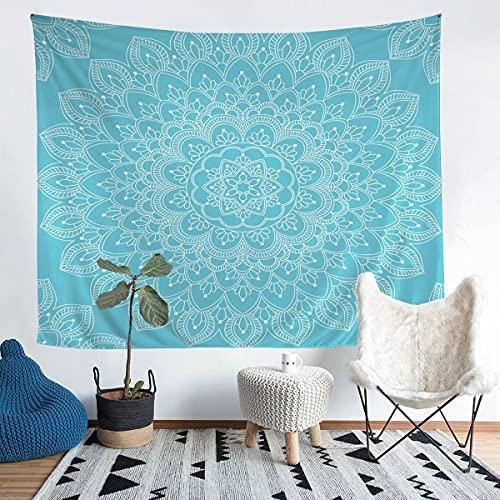 Boho Mandala manta de pared estilo bohemio Tapiz para niños niñas niños Mandala impreso pared colgante floral impreso decoración de habitación azul claro XL 152 x 201