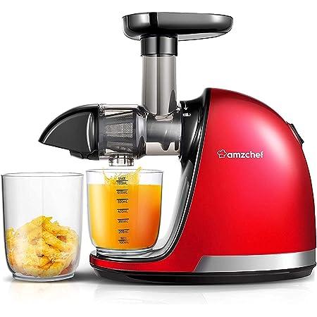 AMZCHEF Extracteur de Jus de Fruits et Légumes Slow Juicer Presse à Froid Machine avec moteur silencieux/tasse à jus/brosse de nettoyage/adapté à tous les Fruits et Légumes(Rouge)