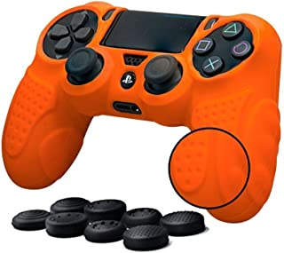 PS4 Controller Grip Skin Anti-Slip Silicone Case Cover for Sony Playstation 4 PS4/Slim/Pro Controller with 8 x FPS Pro Thumb Grips (Orange)