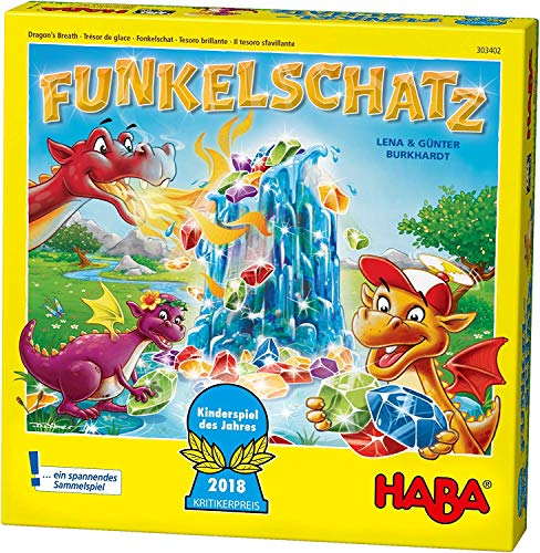 Haba 303402 - fonkelende schat bordspel, grappig cadeauspel voor 2-4 spelers vanaf 5 jaar, met 90 fonkelstenen en 9 ringen in ijs-look, mooi verjaardagscadeau
