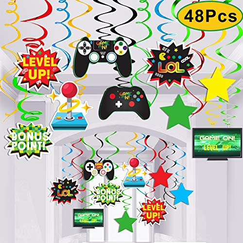 Video Game Party Supplies,Video Game Decor Hanging Swirl Decorations for  Video Game Birthday Party Supplies Decorations-12PCS