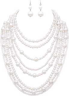 Rosemarie Collections Women's Multi Strand White Simulated Pearl Statement Necklace and Earrings Jewelry Set