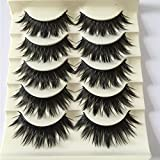 interjunzhan 5 Pairs 3D False Eyelashes Fluffy Ultra Thick Cross Long Fake lashes Extension Handmade Soft Reusable Eye Makeup
