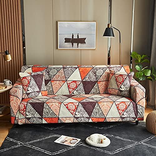WXQY Funda de sofá elástica Estampada, Antideslizante, Suave, Creativo, Negro, patrón geométrico, Funda de sofá, Funda de sofá A10, 3 plazas