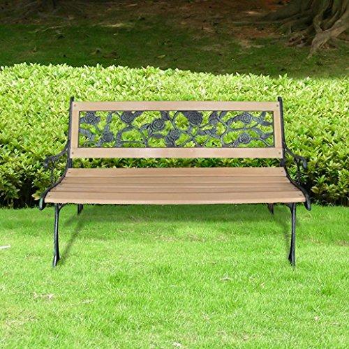 Lingjiushopping Banc de jardin Bois et metal a motif floral 122 cm Materiau : Bois et metal Dimensions : 122 x 73 x 34 cm (L x H x l)
