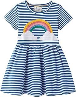 Vestidos De Niña Niña De Moda De La Falda Del Arco Iris De La Impresión De La Ropa Del Verano Del Algodón Camiseta Superio...