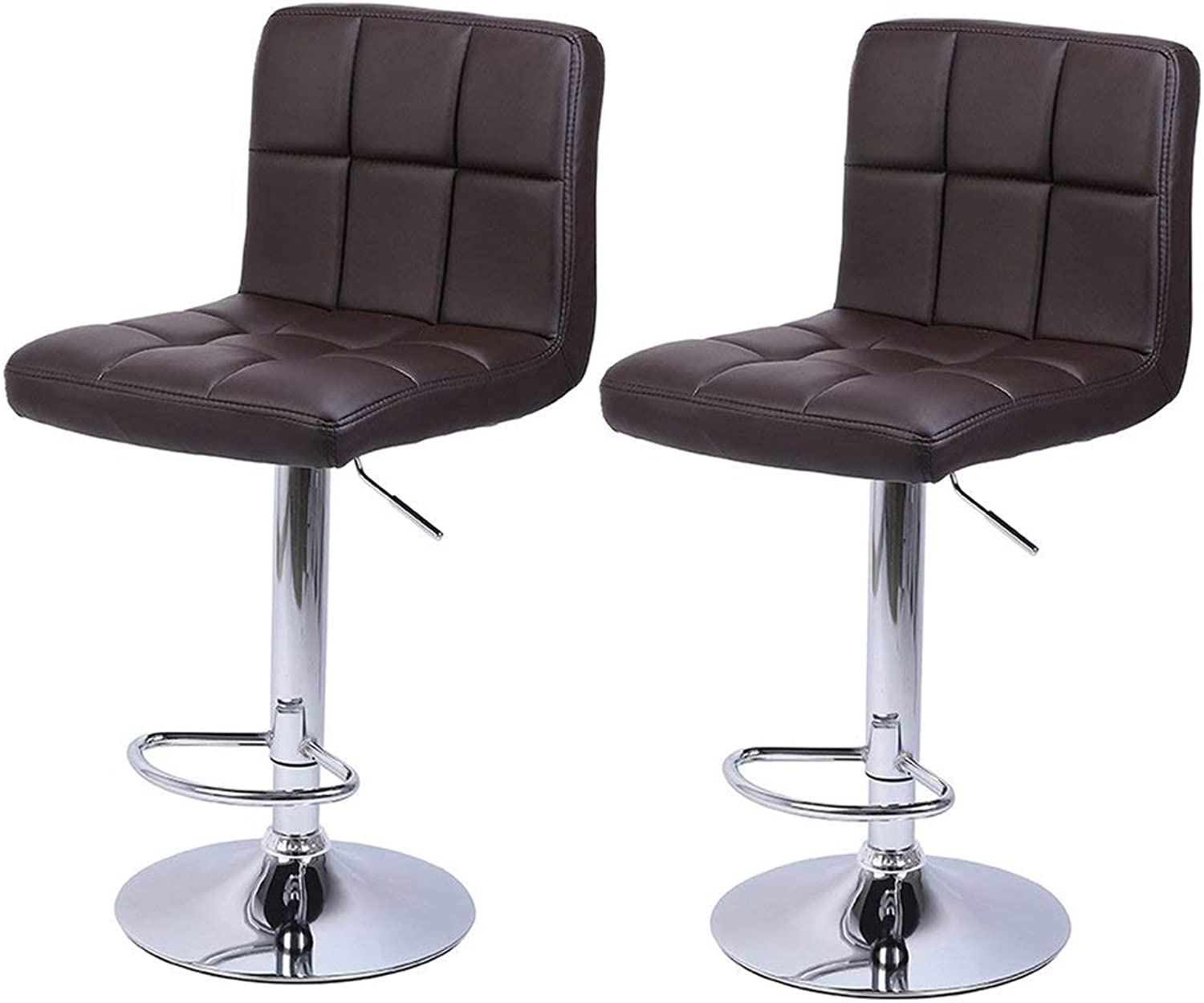 Tthappy76 2Pcs Leather Adjustable Bar Stools with Back Counter Height Swivel Stool Checks Round Cushion Bar Stool,as Show