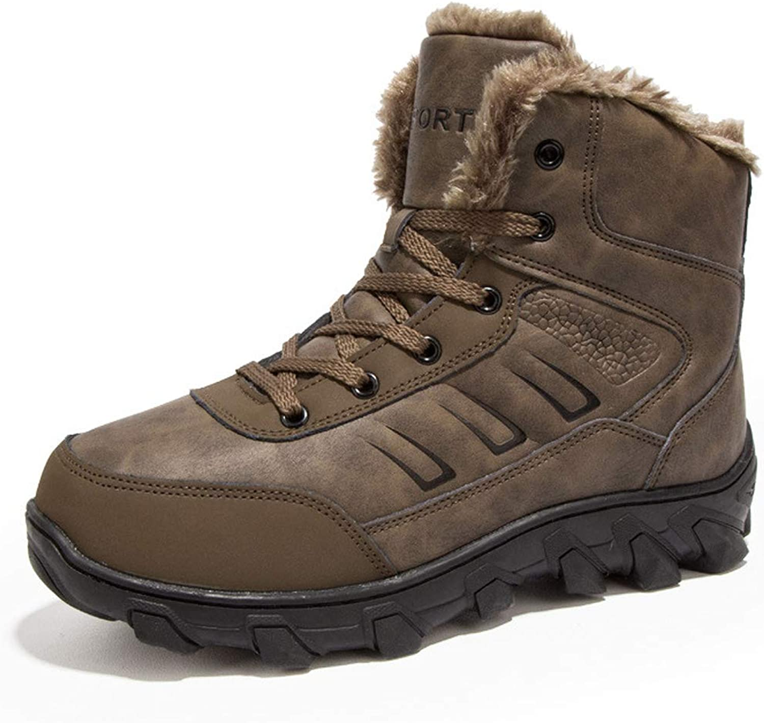 Men's Hiking shoes High-top Winter Warm Trekking Boot Lace Up Outdoor Anti Slip Leather shoes