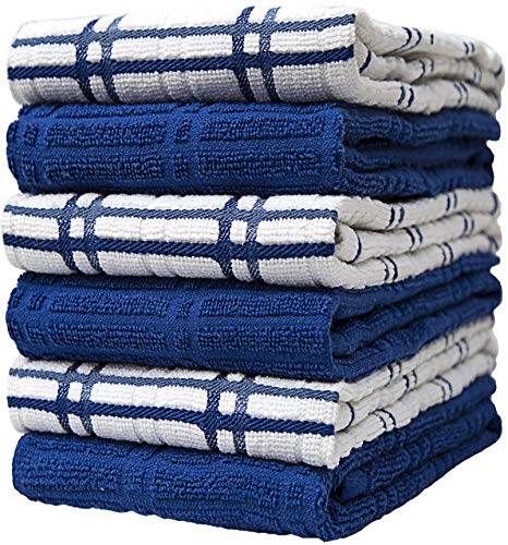 "Premium Kitchen Towels (16""x 26"", 6 Pack) – Large Cotton Kitchen Hand Towels – Window Pane Design – 400 GSM Highly Absorbent Tea Towels Set with Hanging Loop – Blue"