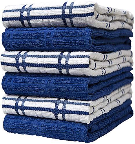 Bumble Premium Cotton Kitchen Hand Towels (16' x 26') Blue Window Pane Design   Soft, Highly Absorbent with Hanging Loop   Natural Ring Spun Cotton   Large Tea Towel Set   400 GSM - 6 Pack