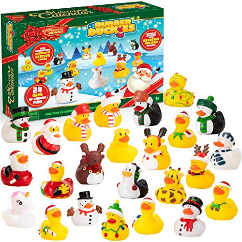 JOYIN Christmas 24 Days Countdown Advent Calendar with 24 Rubber Ducks for Boys, Girls, Kids and Toddlers, Christmas Party Favor Gifts