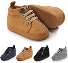 Meckior Toddler Baby Boys Girls High Tops Ankle Sneakers Soft Anti-Slip Sole PU Leather Moccasins Infant Newborn Prewalker...