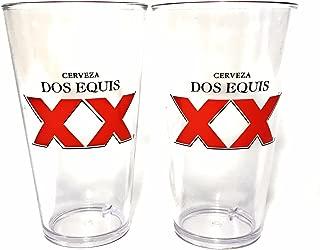 Dos Equis Cerveza Acrylic Plastic 16 Ounce Glass - Set of 2