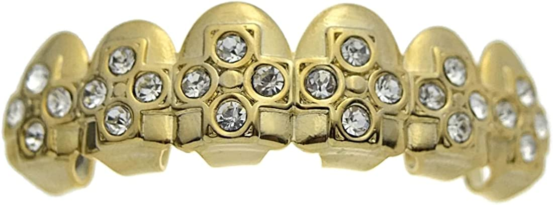 14k Gold Plated Grillz Iced Crosses Top Upper Teeth Hip Hop Grills