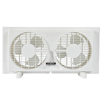 """BEYOND BREEZE 9"""" Twin Window Fan 2-Speed Reversible Airflow Blades"""